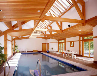 Timber frame pool house with indoor pool