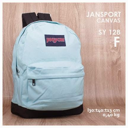 jual online tas jansport backpack kanvas polos kw super murah  warna biru muda