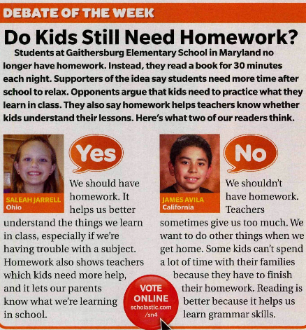Less homework for students