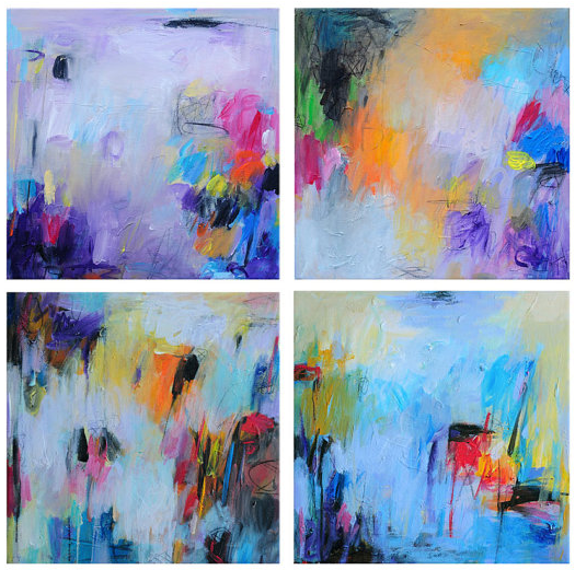 SALE Fine Art Giclee Prints, set of four prints, set of 4 prints, abstract art, abstract painting, colorful art, colorful painting, Silso, Silso etsy, abstract etsy, made her look, madeherlook.blogspot.com