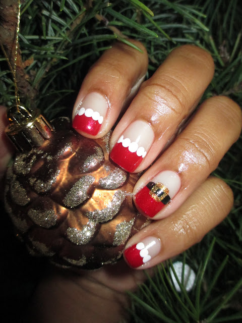 Julep Scarlett, OPI Goldeneye, Christmas, Santa, red, white, belt,  French tip, frenchie, nail art, nail design, mani