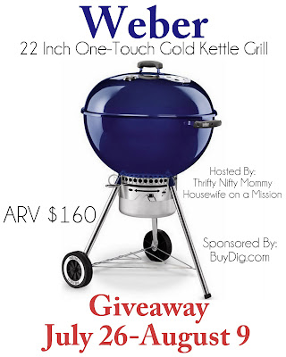 Enter to win a Weber 22-inch One-Touch Gold Kettle Grill, Giveaway ends August 9