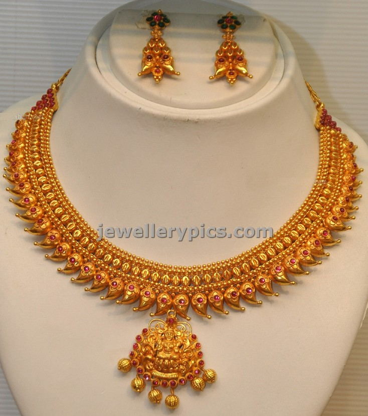 GRT mango design necklace with 22carat gold - Latest Jewellery Designs