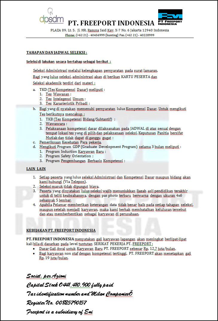 Contoh Surat Panggilan Test Lowongan Kerja Fiktif PT. Freeport