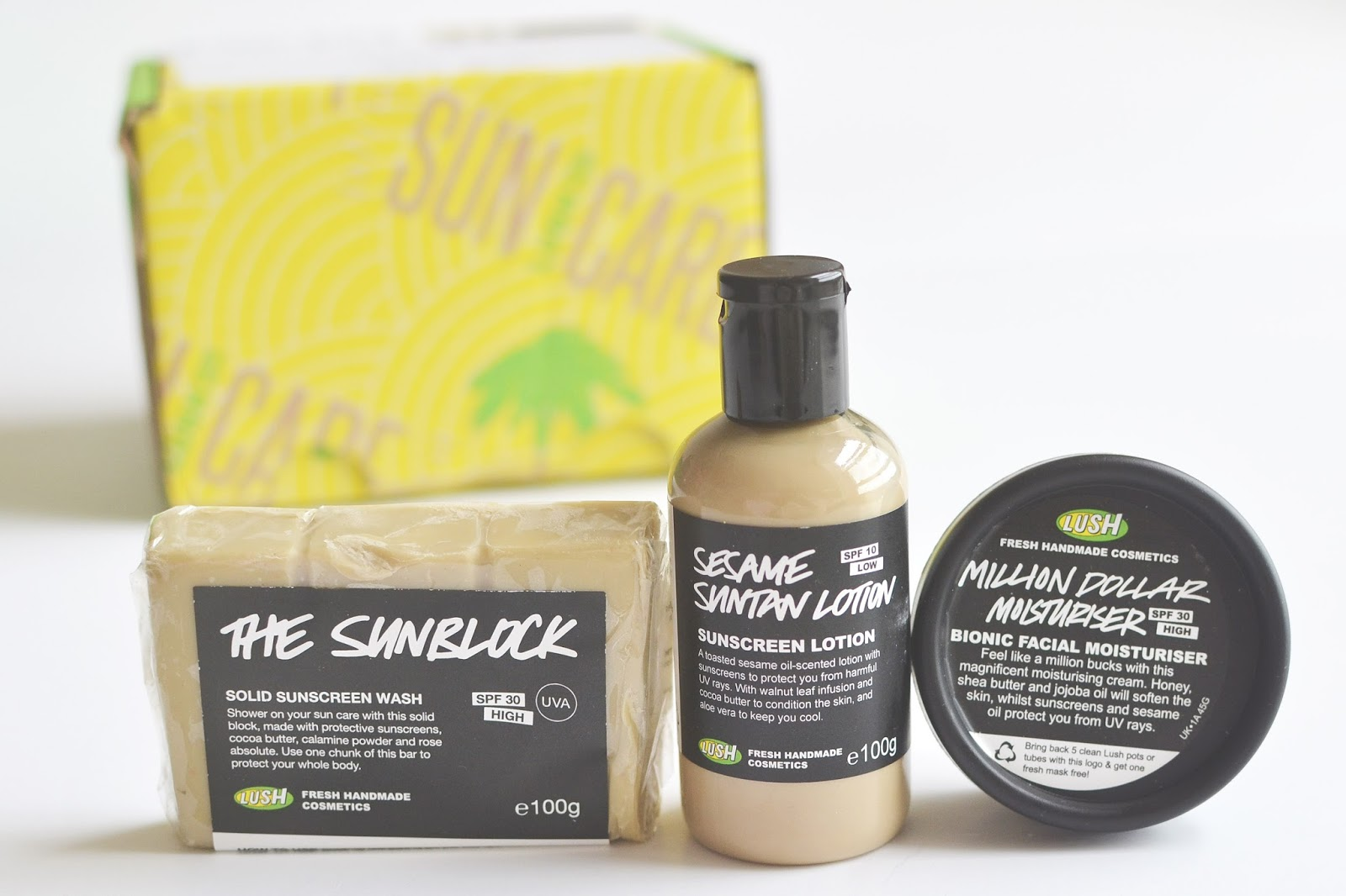 lush cosmetics sun care product, lush sunscreen