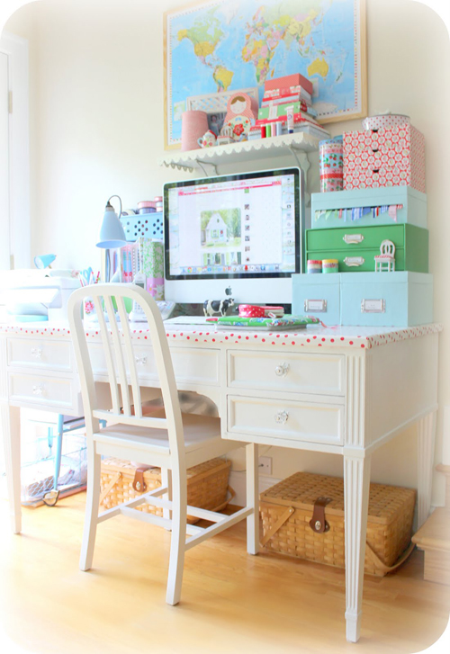 Cath+Kidston+colored+desk+space Birdie Blue Cottage Chic Home Office Space | Craft Room Inspiration