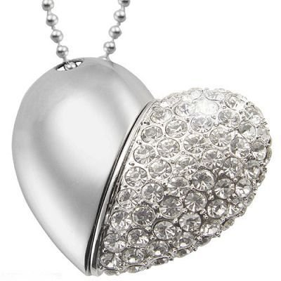 Crystal Heart Shape Necklace Pendrive