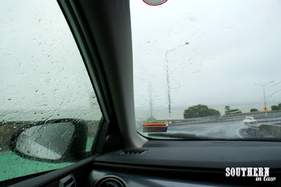Driving Across Auckland Harbour on a Rainy Day