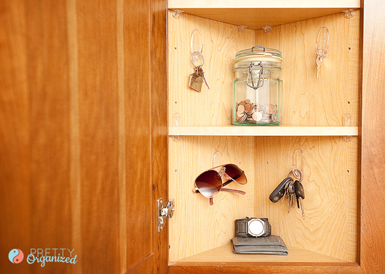We couldn't figure out what would fit in there, until one day it dawned on  us: it was the PERFECT size for keys! - IHeart Organizing: UHeart Organizing: Key Storage Ideas