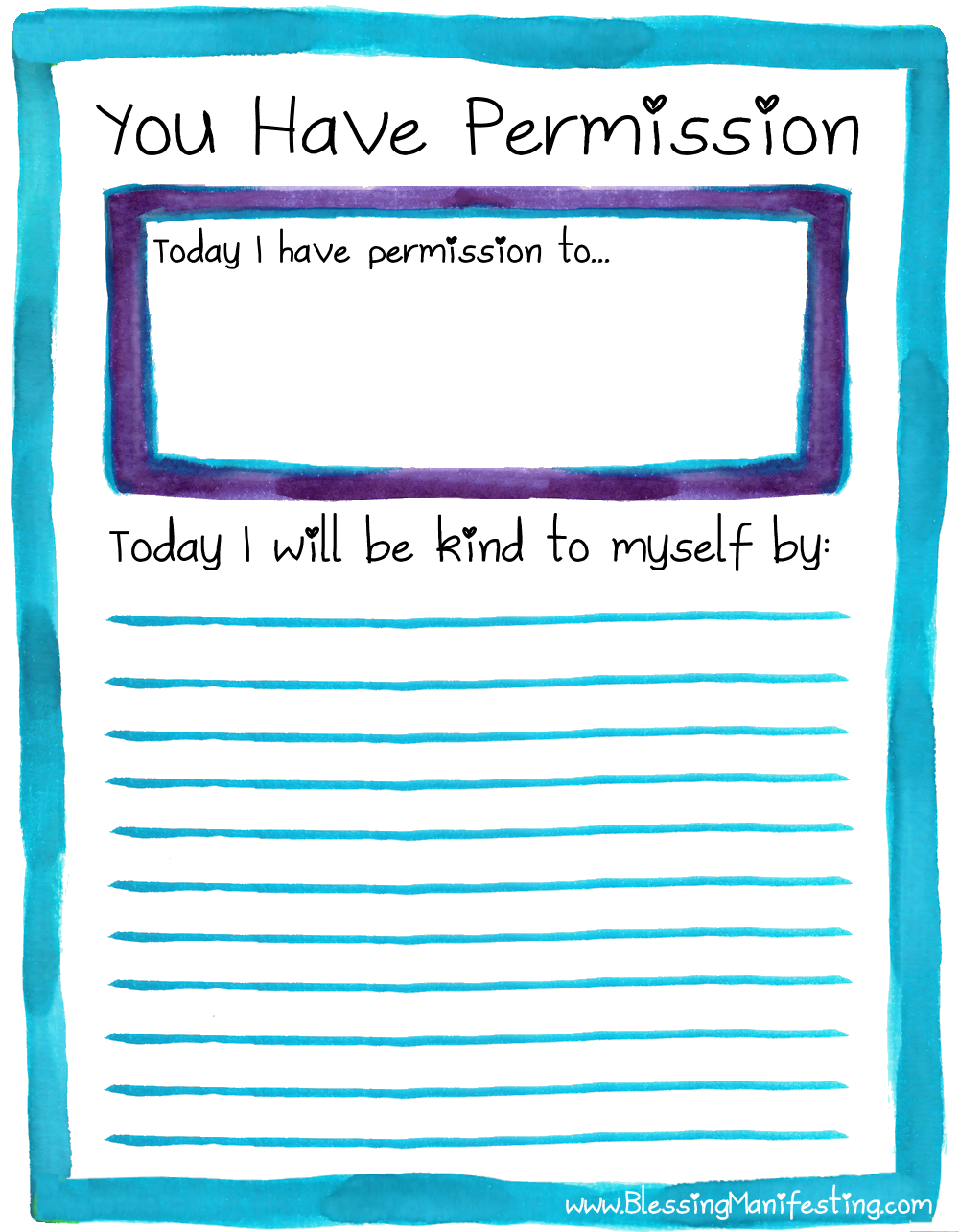 Self Care Sunday Give Yourself Permission Blessing Manifesting – Self Care Worksheets