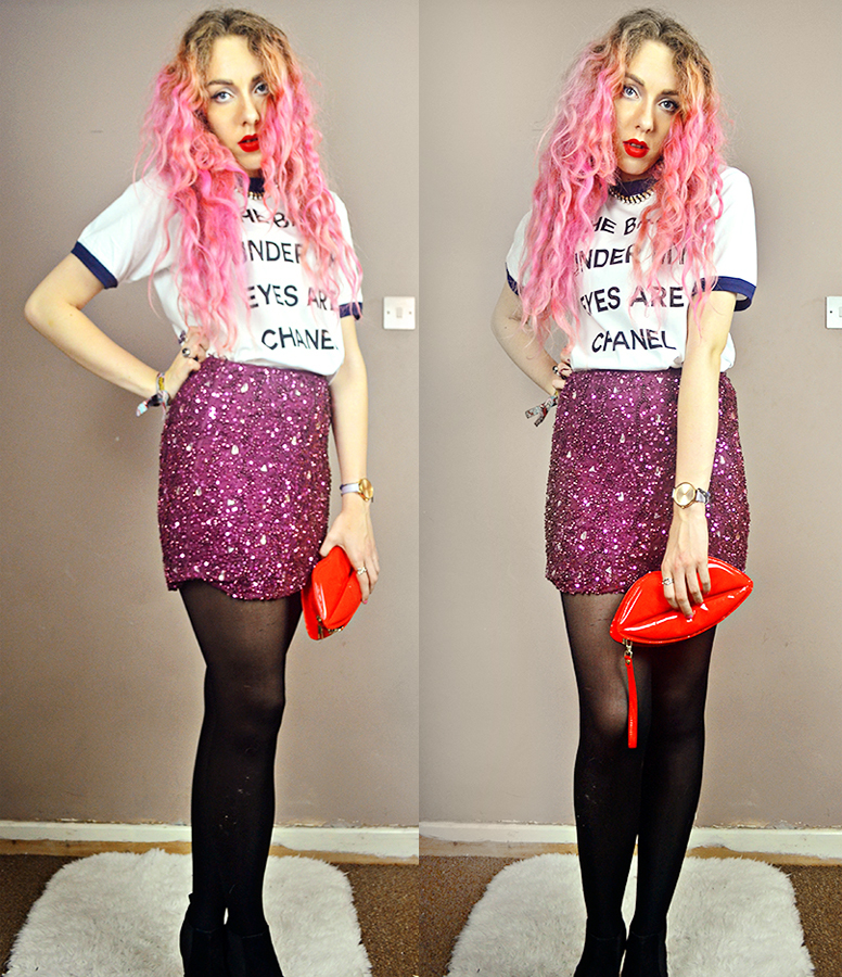 Pink hair, leather quilted shoulder jacket, celeblook, the bags under my eyes are chanel tee, rock and religion griffin sequin jewel skirt, lulu mcguinness dupe ebay lip clutch, boohoo chelsea boot suede heels, uk fashion blogger, stephi lareine