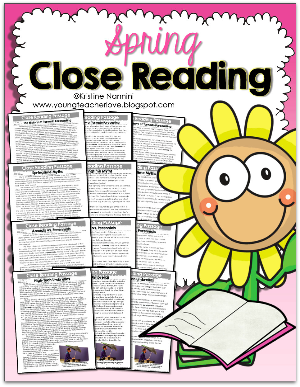 Spring Close Reading Passages, Text-Dependent Questions & More- Young Teacher Love by Kristine Nannini