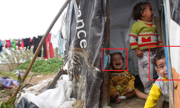 Syrian Children Crying Show the children crying