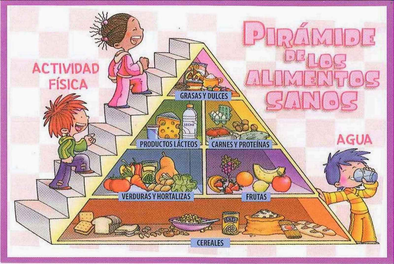 La educaci n f sica en nuestro cole la pir mide de la alimentaci n - Piramides de alimentos saludables ...