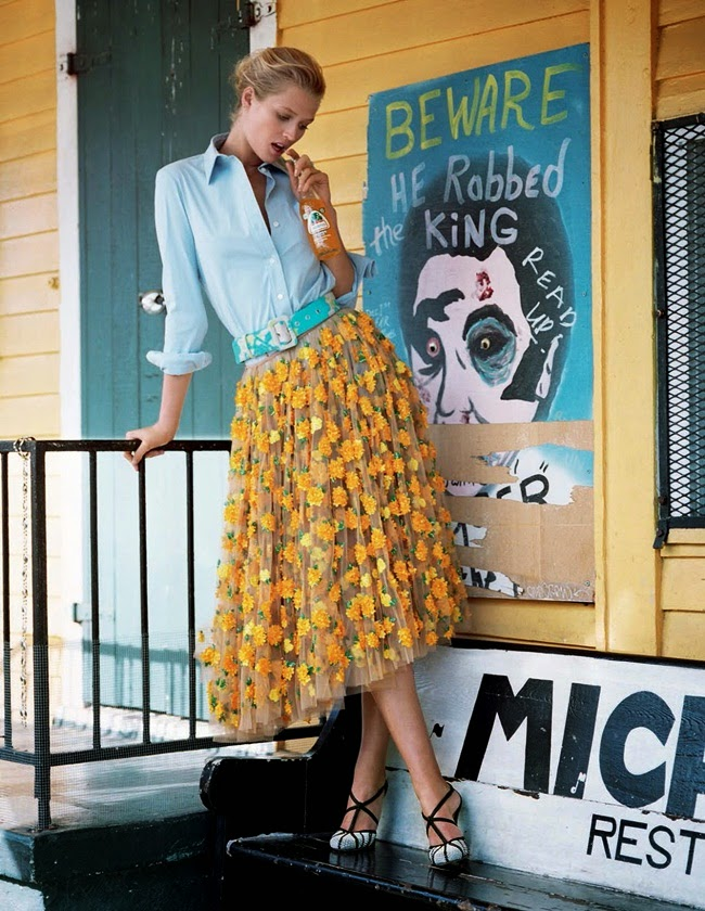 Michael Kors 2015 SS Yellow Marigold Floral Embroidered Tulle Skirt Editorials
