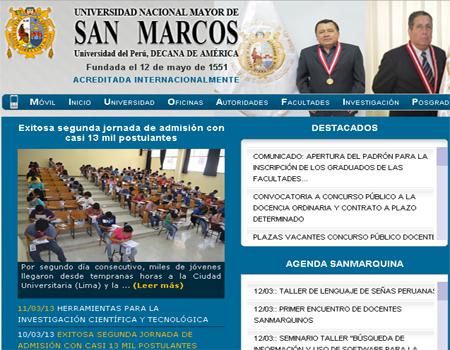 de la segunda jornada de admision a la universidad san marcos 2013