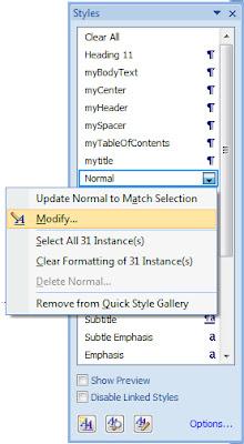 Modifying MS Word Styles