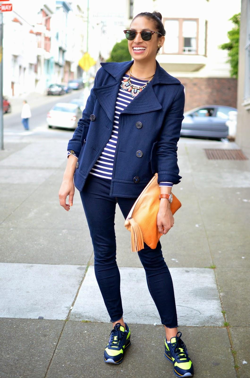 Reebok, custom Reebok, casual city style, casual style, striped top, skinny True Religion denim leggings, vintage chanel earrings, navy pea coat,