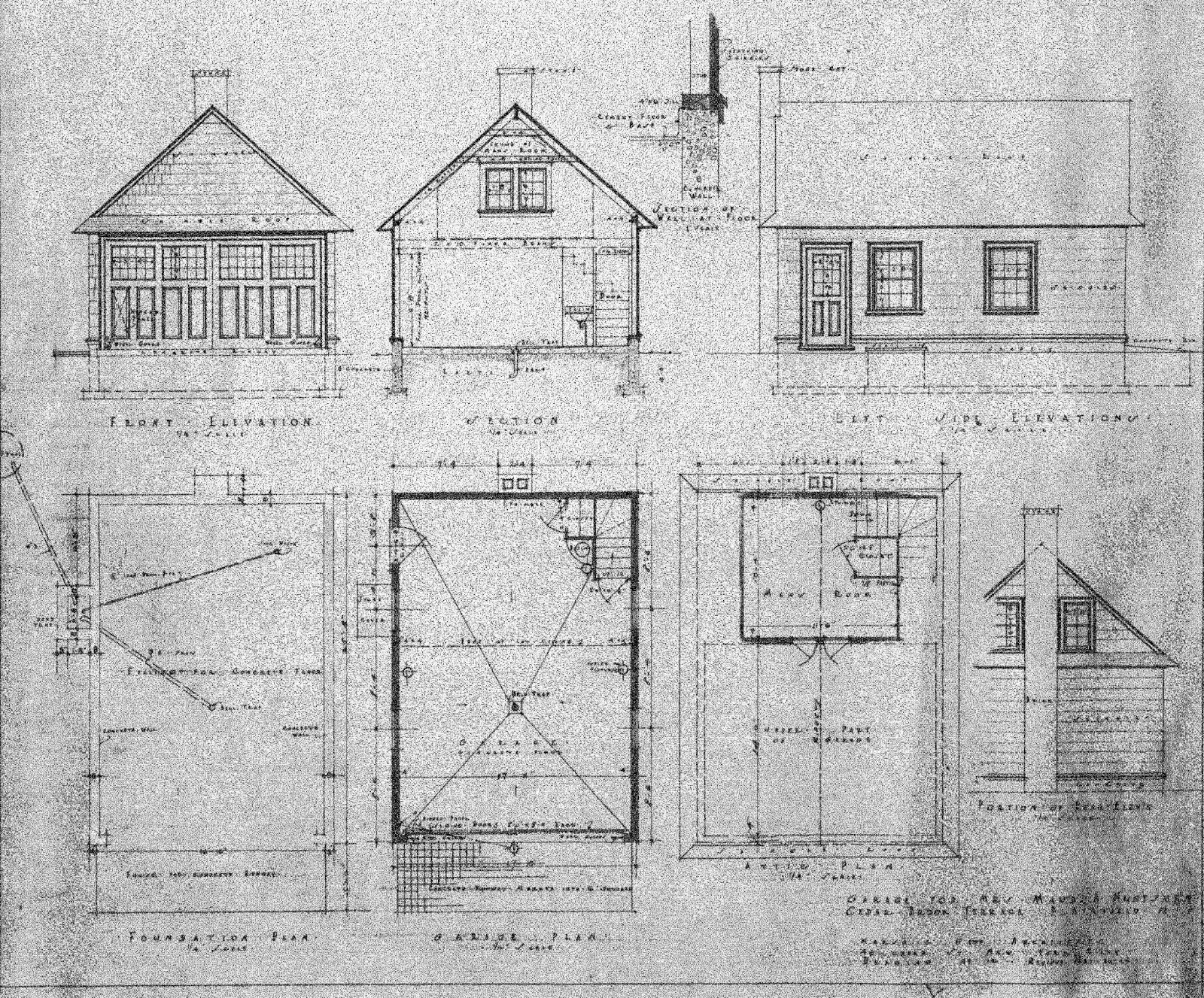 Once upon a house blueprint for a colonial revival garage original drawings for the two story garage at 920 cedar brook road the door in the side elevation top right first row opens into the back yard malvernweather Gallery