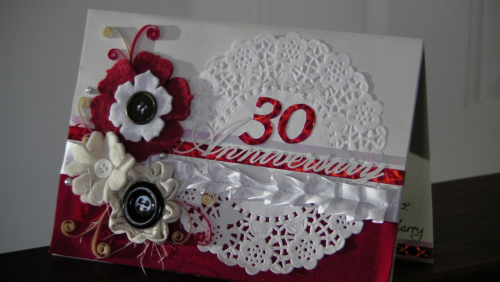 I Chose Reds And Pearly Cream For Colour Thirty Years Is Pearl Traditionally You Cant Go Wrong With Red Anniversaries Sewed On Some Beads