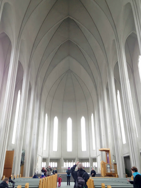 The view of the the interior of Hallgrimskirkja is simple but stunning