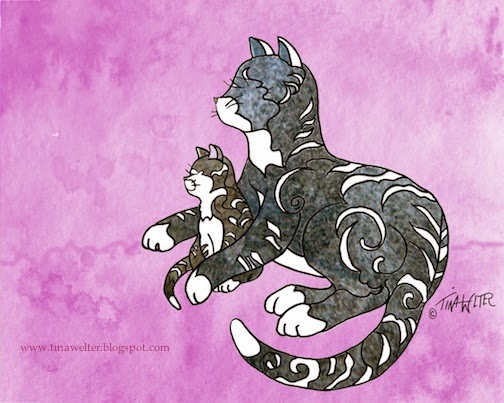 """Rosy Morning"" Mother Cat and Kitten 8""x 10"" mixed media, digital © 2015 Tina M Welter"