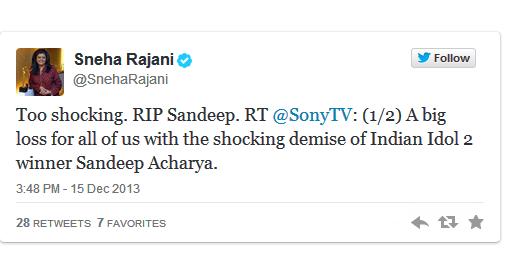 'Indian Idol' season 2 winner Sandeep Acharya passes away tweet