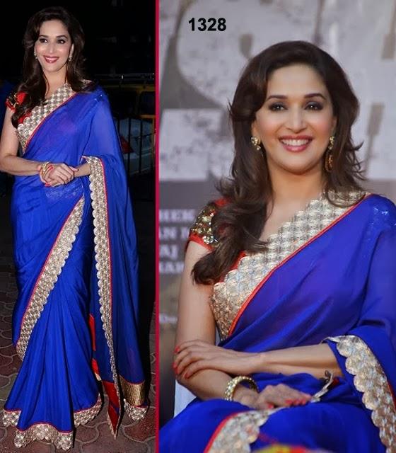 Madhuri Dixit In Jade Designer Red and Blue Sari