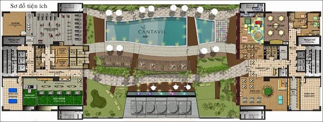 Mặt bằng sơ đồ tiện ích tại căn hộ Cantavil Premier