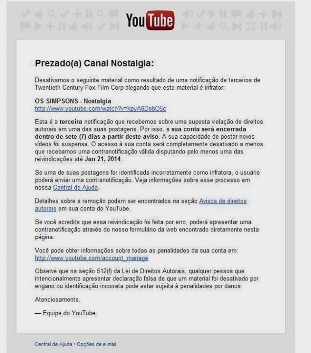 Notificação do Youtube ao canal Nostalgia - Fonte/Reprodução: https://www.facebook.com/canalnostalgia