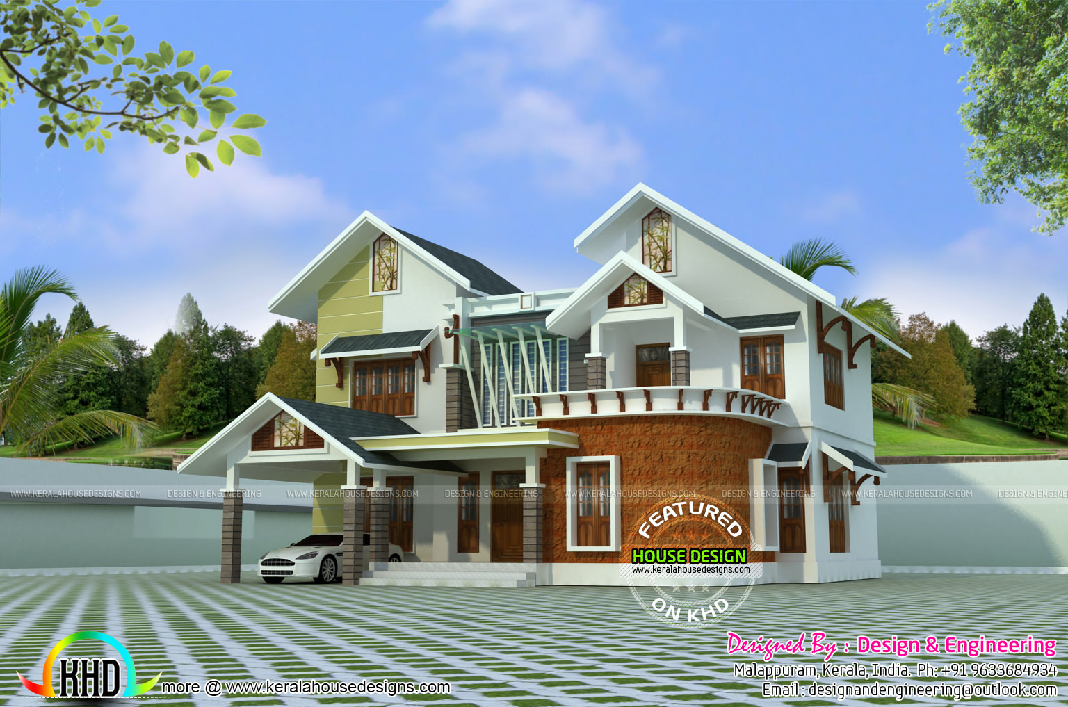 Modern mix roof house design in 2400 sq ft kerala home for Modern house plans 2400 sq ft