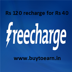 Freecharge : Get Rs 120 Recharge for Rs 20.  Valid till 16th Oct
