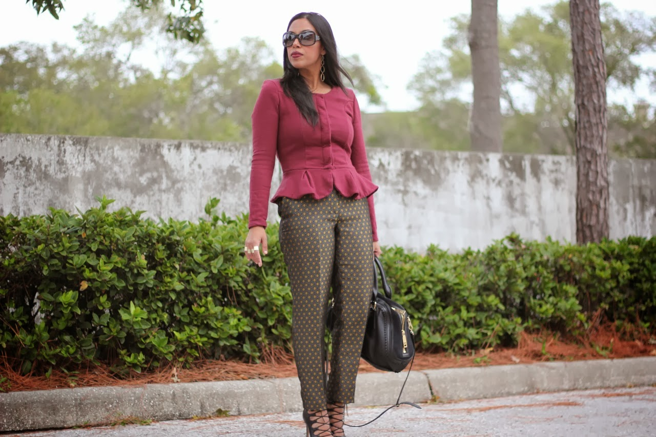 Burgundy peplum top jacket asos h&m metallic printed pants zara lace up shoes booties burberry bag marc jacobs sunglasses