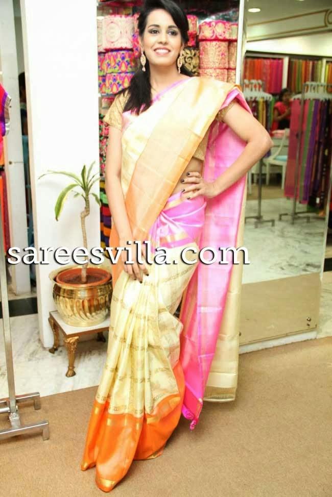 Model in uppada silk saree
