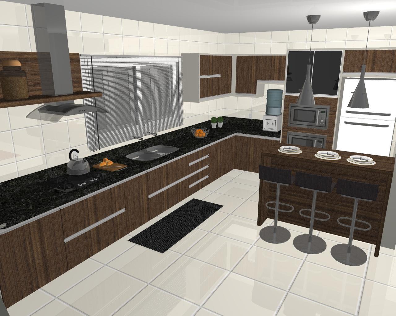 : Imagens renderizadas de cozinhas criadas e executadas pela ATUALLE #A0652B 1280 1024