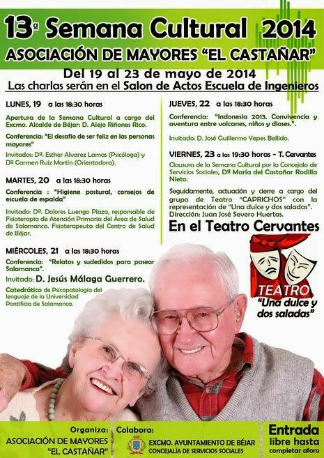 """23/mayo(hasta). XIII Semana Cultural Asociación de Mayores """"El Castañar"""". Béjar"""