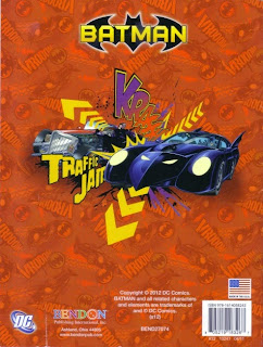 Back cover of The Chase is On Batman jumbo coloring and activity book