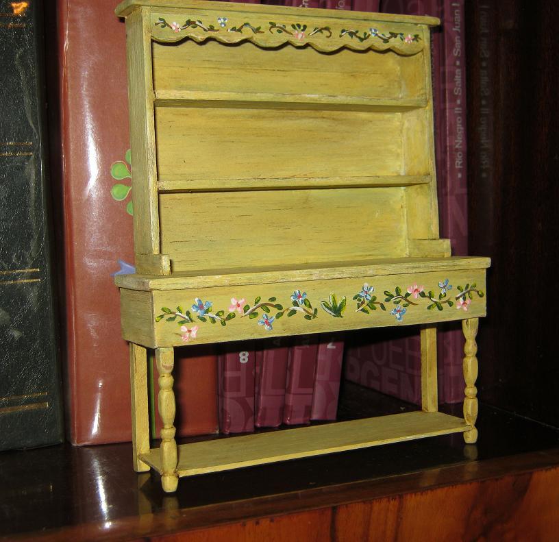 Juliana dollhouse miniatures mueble alacena pintado a mano - Mueble pintado a mano ...