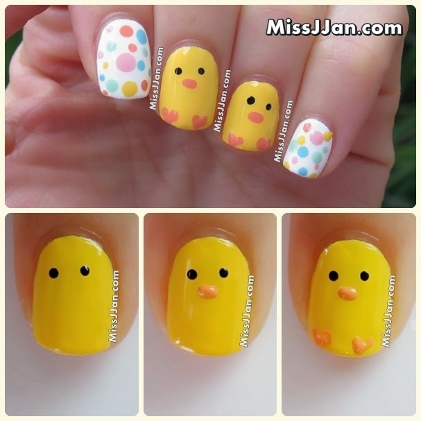 Easy easter nail art step by step : Missjjan s beauty tutorial easter baby chick