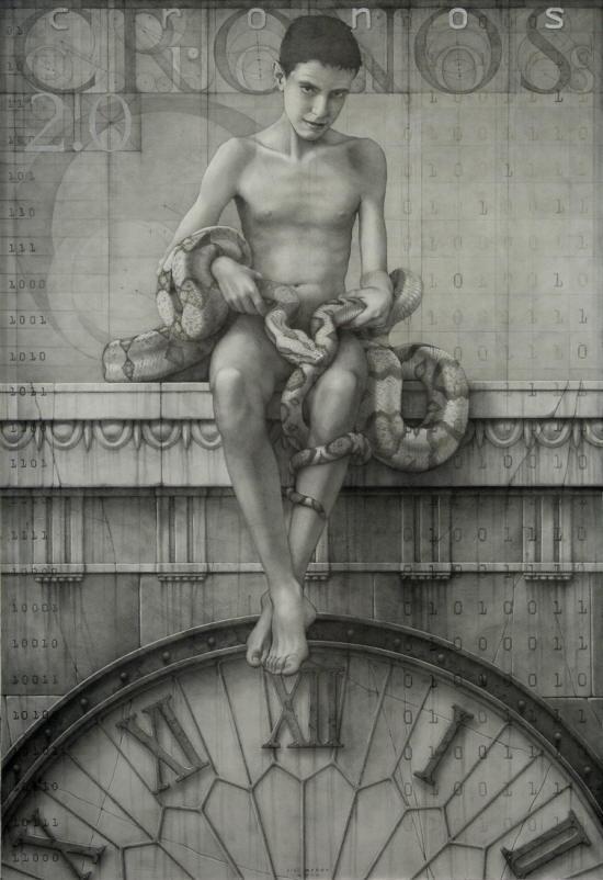 Cronos-2.0-grafito-y-pan-de-plata-sobre-madera-imprimada-100x146-cm
