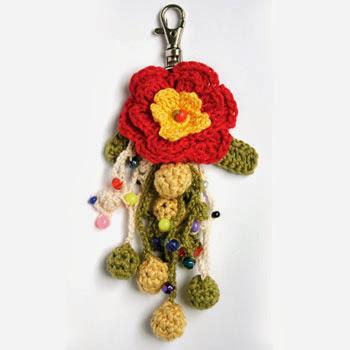 2 Llaveros de Crochet de Flores