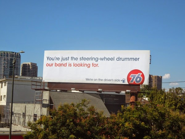 steering wheel drummer 76 gas billboard