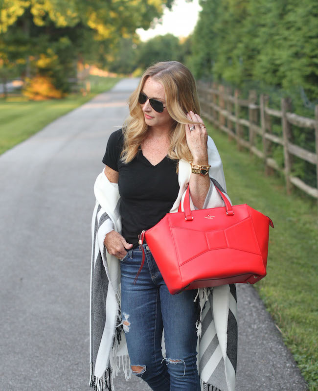 halogen tee, AG jeans, rebecca minkoff sandals, hinge wrap, ray ban sunnies, kate spade bag