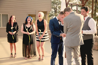 Wedding ceremony at The Landing Resort Tahoe l My Big Gay Illegal Wedding ACLU Contest l Take the Cake Event Planning