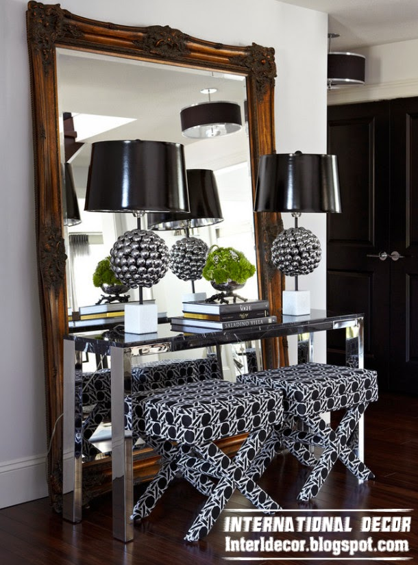 art deco style in modern interior, large mirror,black table lamp