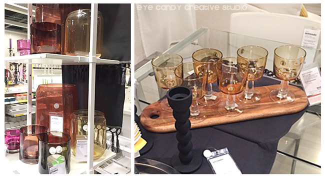 candlestick holders, colored glassware at IKEA, amber glassware