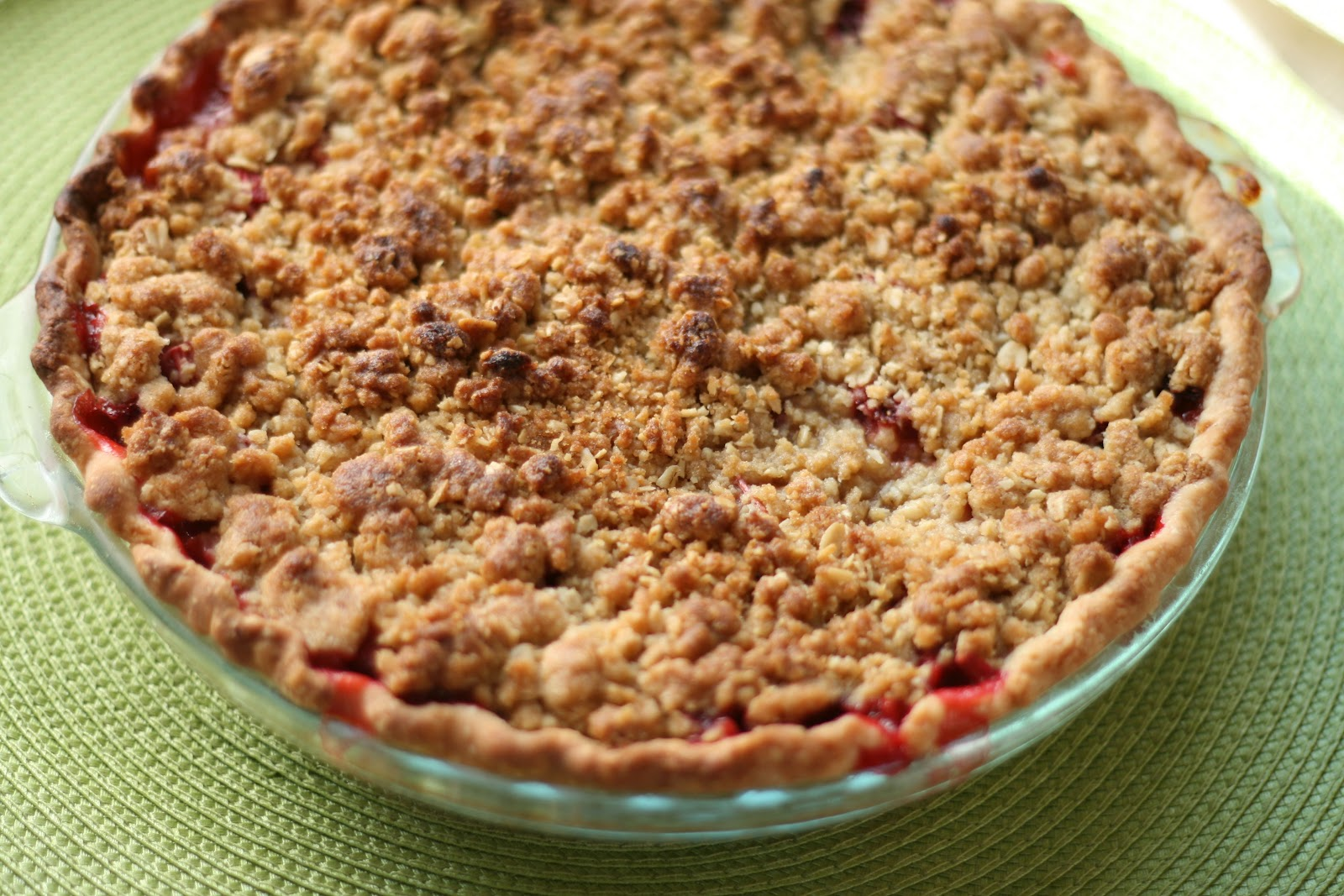strawberry rhubarb crumble pie one pie crust unbaked printable recipe