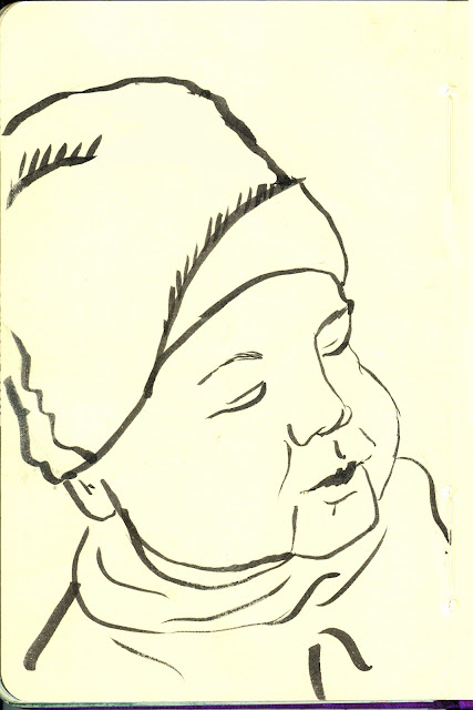 Willam. Quick pen and ink sketch while he slept. By Ana Tirolese ©2012 All Rights Reserved.