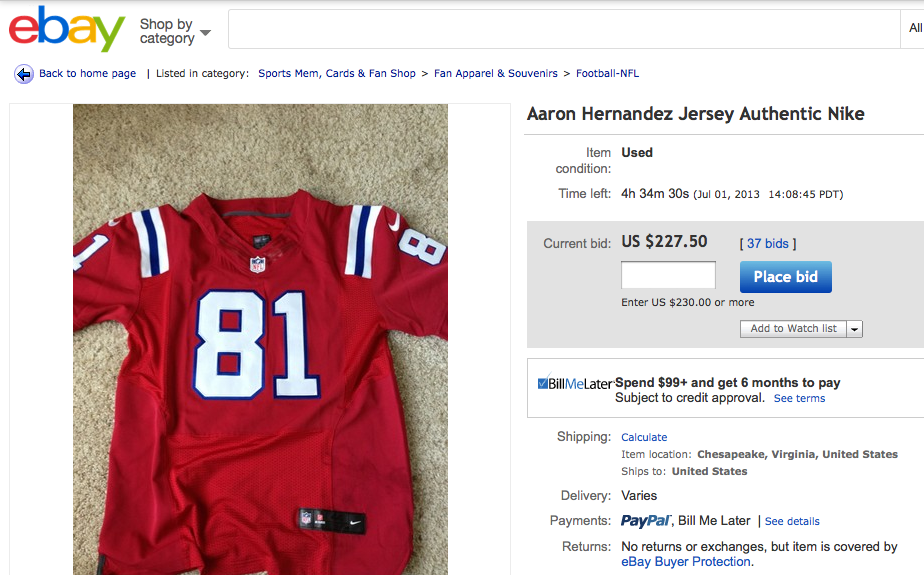 (CNNMoney) – Owners of Aaron Hernandez football jerseys have taken to eBay  to rid themselves of his jersey — and make a hefty profit. 5ee5c1d3f