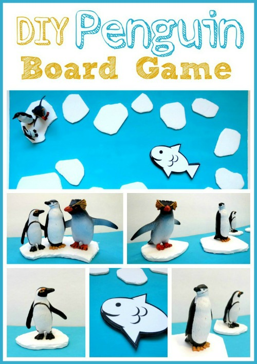 This easy DIY Penguin board game is fun for all kinds of learning! Penguin trivia, colors, shapes, the alphabet, sight words, math problems, etc... How will you play and learn?